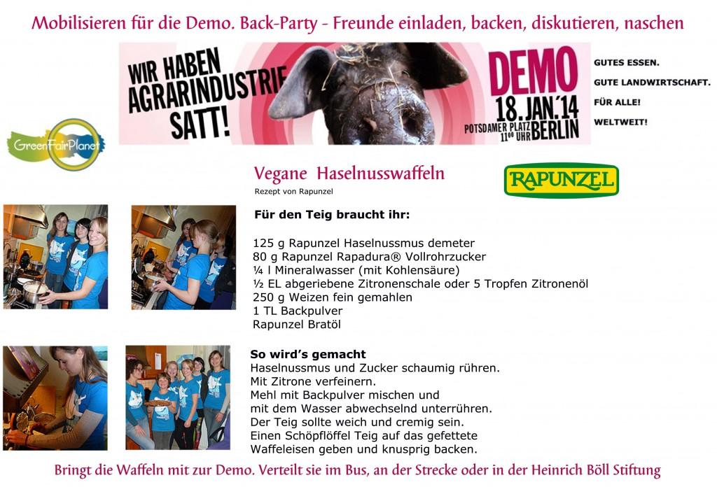 Mobilisiert mit für die Demo in Berlin. Freunde einladen, backen, diskutieren und naschen bei guter Laune und Musik. Mitfahrgelegenheiten gibt es für jeden!