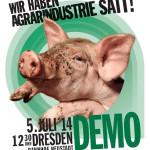"""Erste """"Wir haben Agrarindustrie satt""""-Demo in Sachsen: Über 3000 Menschen haben heut in Dresden für eine tier-, mensch- sowie umweltfreundliche Landwirtschaft und gesundes Essen protestiert"""