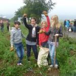 Urban Gardening Kartoffelernte auf dem Bio Acker